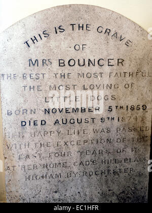 """Grave of Mrs Bouncer, Charles Dickens's dog, 1859-74, at his home, Gad's Hill Place, Higham near Rochester. """"The - Stock Photo"""