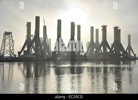 Components for offshore wind turbines, Container Terminal Bremerhaven, Bremerhaven, Bremen, Germany - Stock Photo