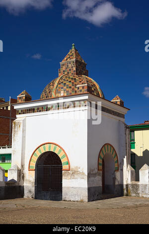 Small chapel on the courtyard of the Basilica of Our Lady of Copacabana in Copacabana, Bolivia - Stock Photo