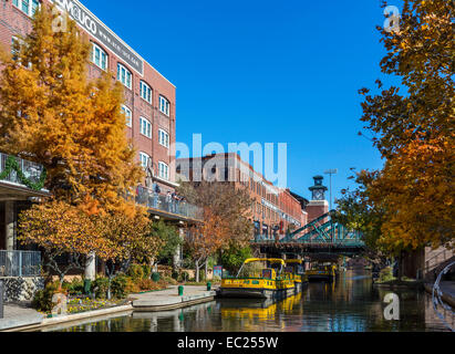 The Bricktown canal in the historic Bricktown district of Oklahoma City, OK, USA - Stock Photo