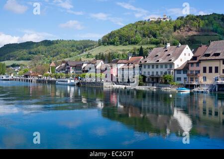 Stein am Rhein, in the background castle Hohenklingen, High Rhine, Canton of Schaffhausen, Switzerland, Europe - Stock Photo