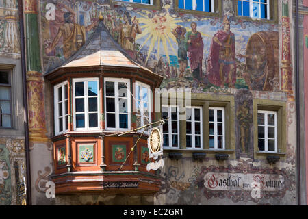 Houses with facade paintings, Stein am Rhein, High Rhine, Canton of Schaffhausen, Switzerland, Europe - Stock Photo