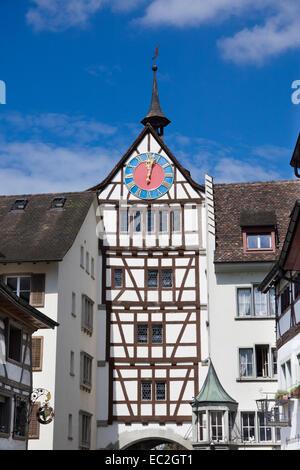 Untertor gate, Stein am Rhein, High Rhine, Canton of Schaffhausen, Switzerland, Europe - Stock Photo