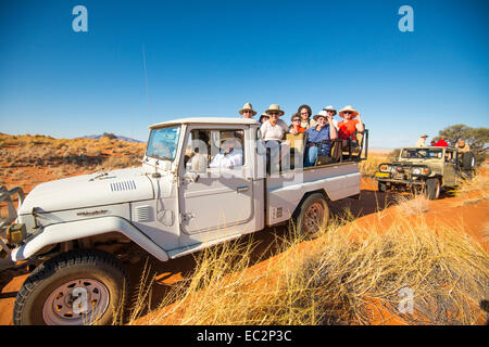 Africa, Namibia. Tok Tokkie Trails hiking and wildlife viewing in truck. Model released. - Stock Photo