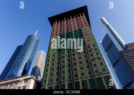 Japanese Center, left the Main Tower, right next to the Commerzbank building in Frankfurt am Main, Hesse, Germany - Stock Photo