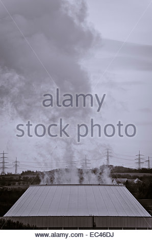 Cooling tower of a power plant in black and white, atomic power station of Neckarwestheim, Germany - Stock Photo