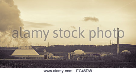 Power plant in black and white, atomic power station of Neckarwestheim, Germany - Stock Photo
