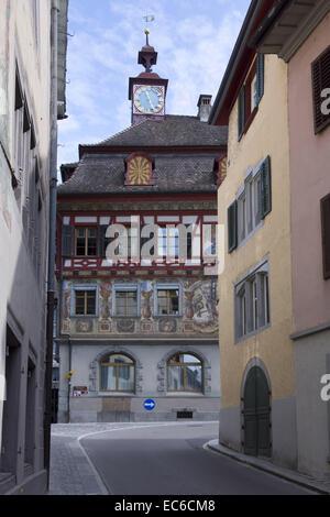 View of the Town Hall, Stein am Rhein, High Rhine, Canton of Schaffhausen, Switzerland, Europe - Stock Photo