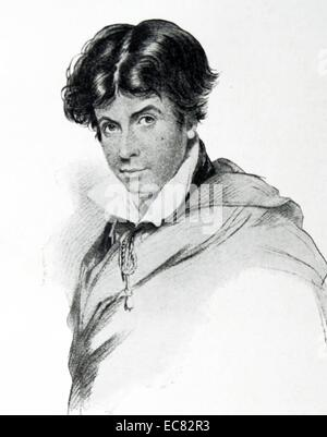 Portrait of Leigh Hunt (1784-1859) English critic, essayist, poet and writer. Dated 1800 - Stock Photo