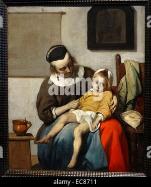 Painting titled 'The Sick Child' - Stock Photo