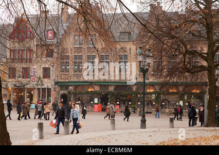 Bruges street scene in winter, Bruges Belgium Europe - Stock Photo