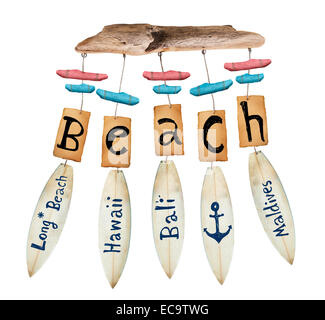 beach wind chime on white background - Stock Photo