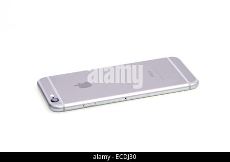 Gray smartphone isolated on white, iphone 6. - Stock Photo