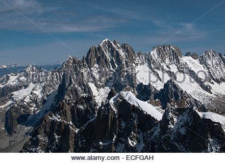 Haute-Savoie, the Mont Blanc mountains from Aiguille du Midi - Stock Photo