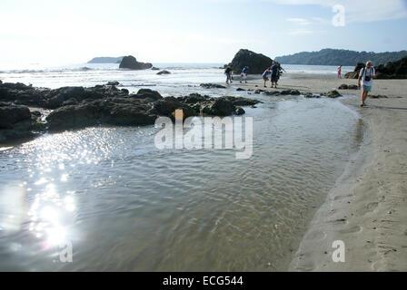Manuel Antonio National Park, (Parque Nacional Manuel Antonio), Costa Rica Tourist explores the shore - Stock Photo