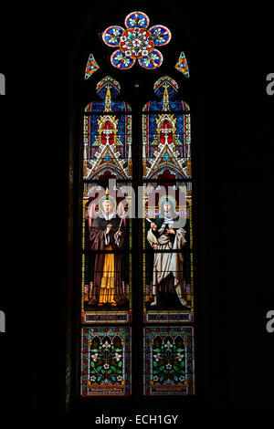 PRAGUE, CZECH REPUBLIC - SEPTEMBER 04, 2014: Stained glass window of St. Ludmila Church (St. Ludmila of Bohemia) - Stock Photo