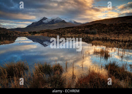 Winter in Glen Sigachan with the peak of Sgurr nan Gillean in the distance on the Isle of Skye in the Inner Hebrides - Stock Photo