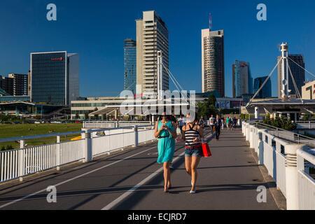 Lithuania (Baltic States), Vilnius, the new town since the White Bridge over the Neris - Stock Photo