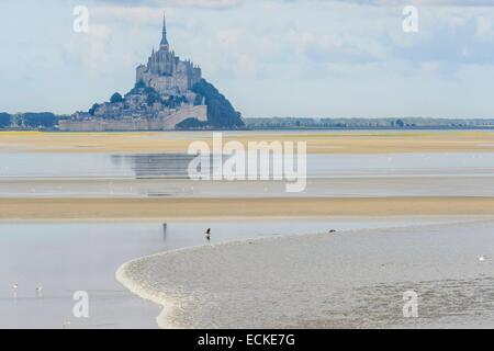 France, Manche, Mont Saint Michel bay, listed as World Heritage by UNESCO, the tidal bore at Pointe du Grouin Sud, - Stock Photo