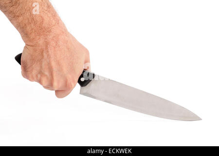 Knife in human hand isolated on white(with clipping path). - Stock Photo