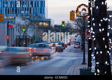 Looking down a decorated Queen Street in downtown Brampton, Ontario, Canada. - Stock Photo