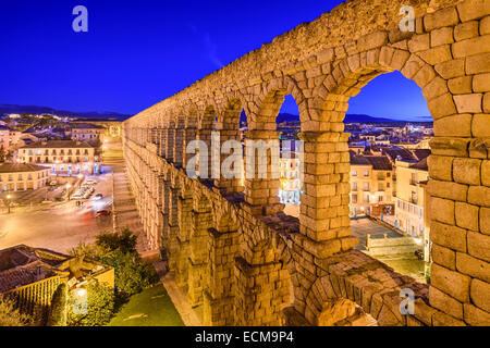 Segovia, Spain at the ancient Roman aqueduct and Azoguejo Square. - Stock Photo