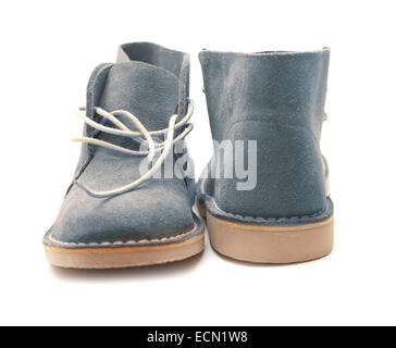 new suede shoes isolated on white - Stock Photo