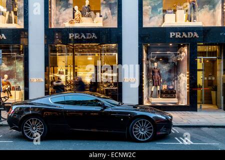 The Prada Store In Old Bond Street, London, England - Stock Photo