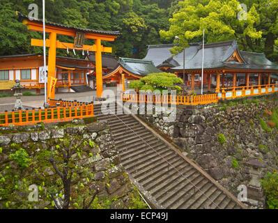 Torri gate at Kumano Nachi Taisha Grand Shrine, on Kumano Kodo Pilgrimage Route, Kii Peninsula, Wakayama Prefecture, - Stock Photo