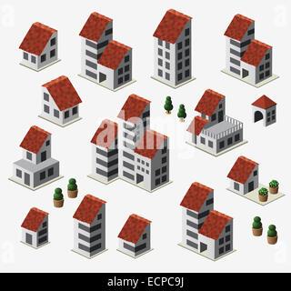 Farmhouses set isolated on background - Stock Photo