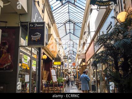 Paris Passage des Panoramas. One of the oldest shopping arcades built in 1799. Paris 2nd arrondissement off Blvd - Stock Photo