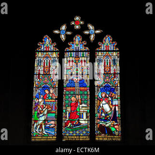 Stained glass window, King Hezekiah and the Assyrians, by William Wailes, mid 19th century, Ely Cathedral - Stock Photo