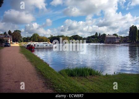 The Mayenne Navigable river France - Stock Photo