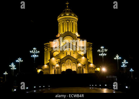 This is a photo of illuminated Cathedral. The Holy Trinity Cathedral of Tbilisi is the main Cathedral of the Georgian - Stock Photo