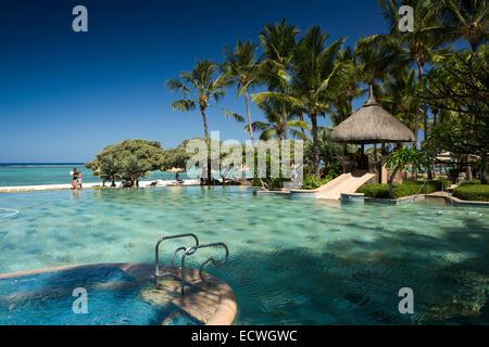 Mauritius, Flic en Flac, La Pirogue Hotel Swimming Pool - Stock Photo