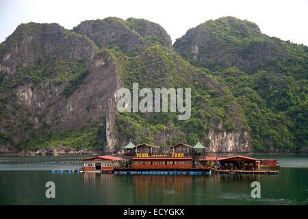 Pearl farm in Ha Long Bay, Vietnam. - Stock Photo