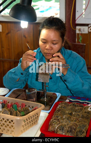 Worker on a pearl farm placing sand in an oyster shell to grow a cultured pearl, Ha Long Bay, Vietnam. - Stock Photo