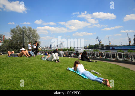 Park Fiction Park, St. Pauli, Hamburg harbour, Germany, Europe - Stock Photo