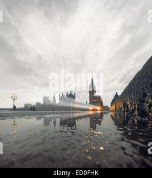 United Kingdom, England, London, Westminster Bridge in rain with incoming double-decker bus - Stock Photo