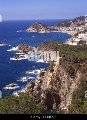 Coastal view, Tossa de Mar, Costa Brava, Girona Province, Catalonia (Catalunya), Spain - Stock Photo