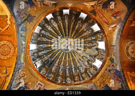 One of the domes in Chora Church, with a beautiful mosaic of Jesus Christ ('Pantokrator'), Istanbul, Turkey - Stock Photo