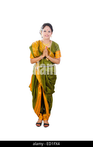 1 South  indian Lady standing  Welcome - Stock Photo