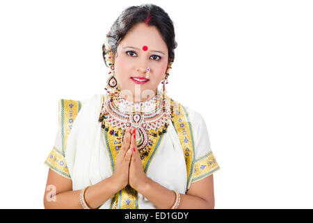 1 South  indian Lady Welcome - Stock Photo