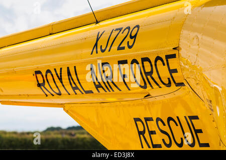 Wording on the side of an old Royal Air Force  Westland Whirlwind rescue helicopter - Stock Photo