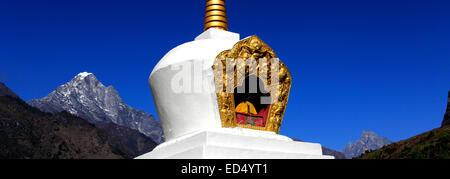 Buddhist Stupa and Prayer Flags, Chineplung village, Sagarmatha National Park, Solukhumbu district, Khumbu region, - Stock Photo