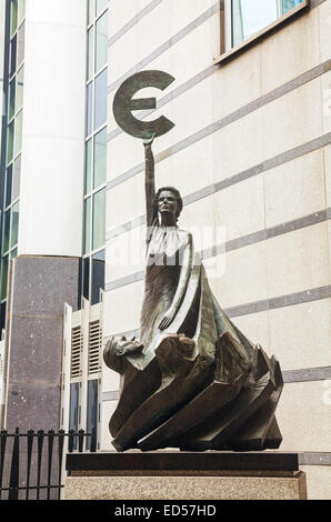 BRUSSELS - OCTOBER 6, 2014: Europe sculpture at the European Parliament building on October 6, 2014 in Brussels, - Stock Photo