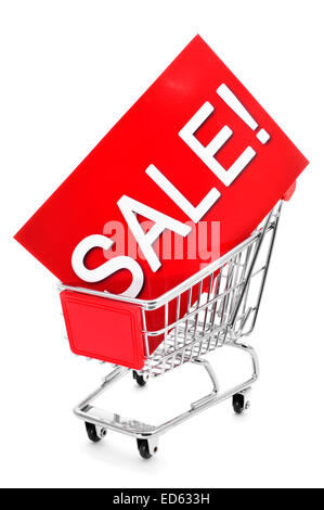 a red signboard with the word sale written in it in a shopping cart, on a white background - Stock Photo