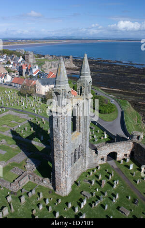 United Kingdom, Scotland, St. Andrews, St. Andrews Cathedral ruins - Stock Photo
