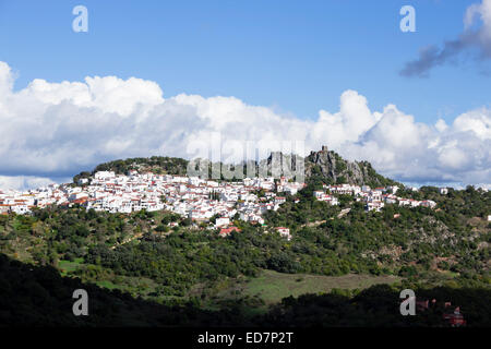 The typical whitewashed mountain village of Gaucin, Malaga Province, Andalusia, Spain. - Stock Photo