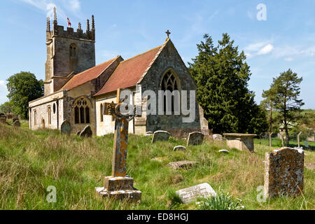 Imber Church, the Church of St Giles, in the uninhabited village of Imber on Salisbury Plain, Wiltshire, United - Stock Photo